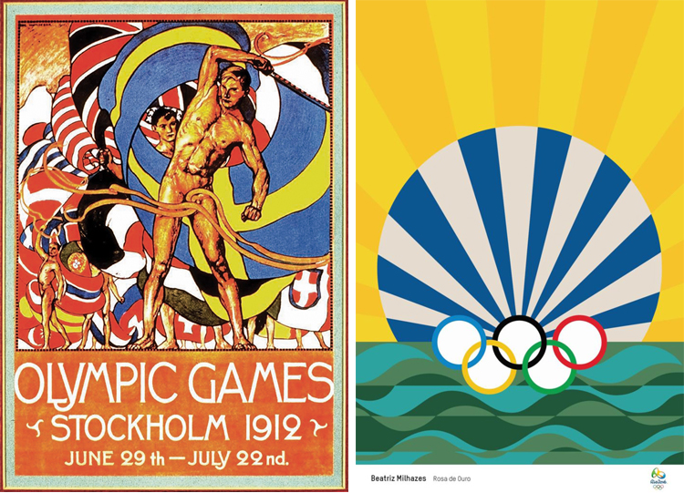 Olympic poster collage old-new