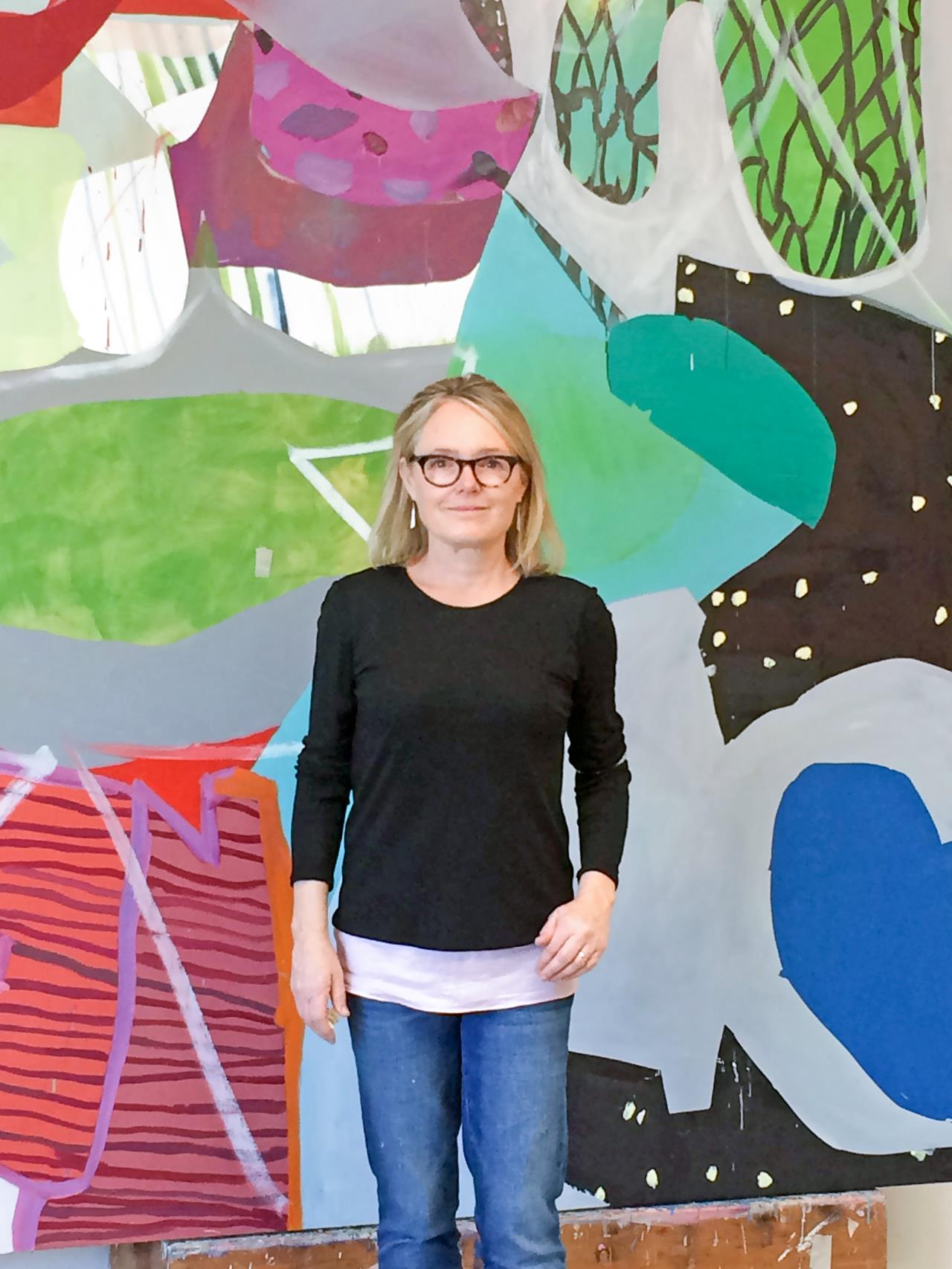 369ace255 Bay Area artist Linda Geary references urbanscapes and architecture near  her West Oakland studio in paintings that use vivid colors and bold shapes  to ...